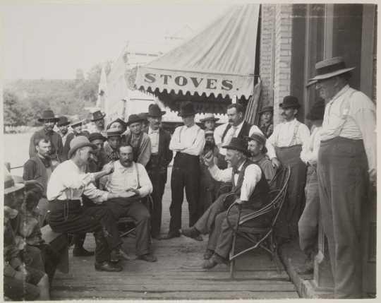 Jordanians discussing politics, 1895