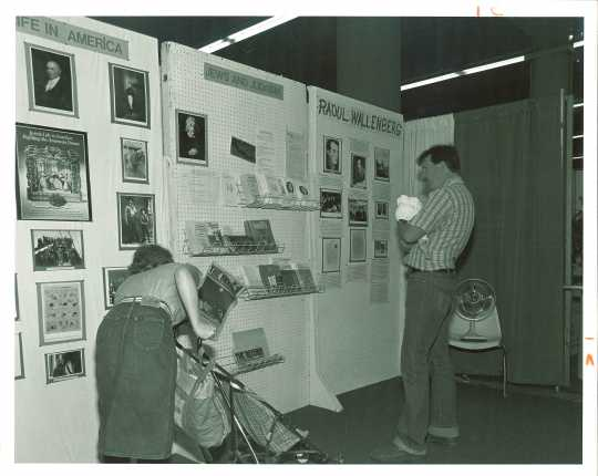 Black and white photograph of JCRC/ADL display at the Minnesota State Fair, c.1986.