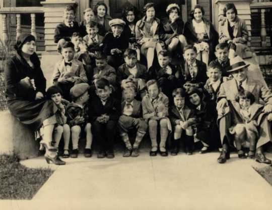 Black and white photograph of residents of the Jewish Sheltering Home for Children, c1935.