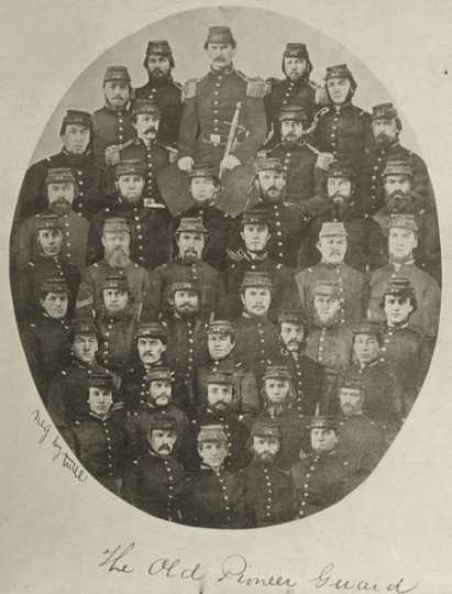Black and white photograph of the Old Pioneer Guard, 1859.