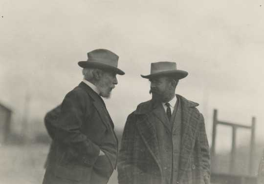 Black and white photograph of James J. Hill (left) with his son, Louis W. Hill, 1912.