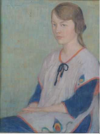Color image of unknown title, obverse (Girl in a Tabard), oil-on-canvas painting by Elsa Jemne, 1920.