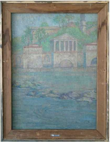 Color image of unknown title, reverse (Italian scene), oil-on-canvas painting by Elsa Jemne, undated.