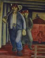 Color image of a detail view of Iron Ore Mine, Elsa Jemne's mural for the Ely Post office, 1940.