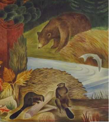 Color image of a detail view of Wilderness, Elsa Jemne's mural for the Ely Post Office, 1940.