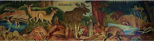 Color image of Wilderness, Elsa Jemne's mural for the Ely Post Office, 1940.