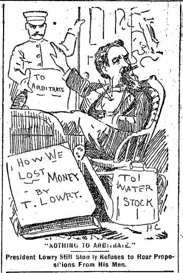 """Black and white scan of """"Nothing to arbitrate.""""  Minneapolis Journal, April 13, 1889."""