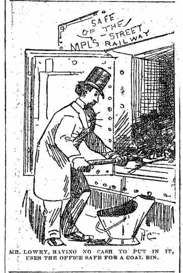 """Black and white scan of """"Mr. Lowry, having no cash to put in it, uses the office safe for a coal bin."""" Minneapolis Journal, April 15, 1889."""