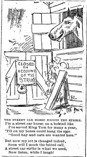 """Black and white scan """"Closed on account of the strike."""" Minneapolis Journal, April 15, 1889."""