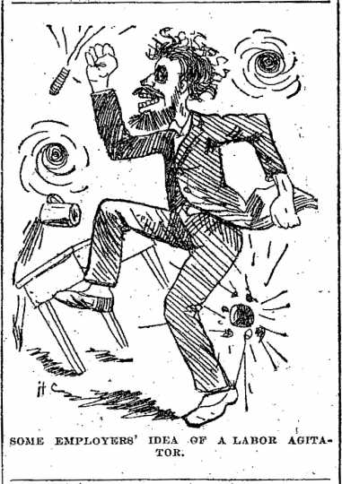 """Black and white scan of """"Some employers' idea of a labor agitator."""" Minneapolis Journal, April 15, 1889."""