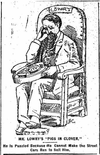 """Black and white scan of """"Mr. Lowry's 'Pigs in Clover.'"""" Minneapolis Journal, April 16, 1889."""