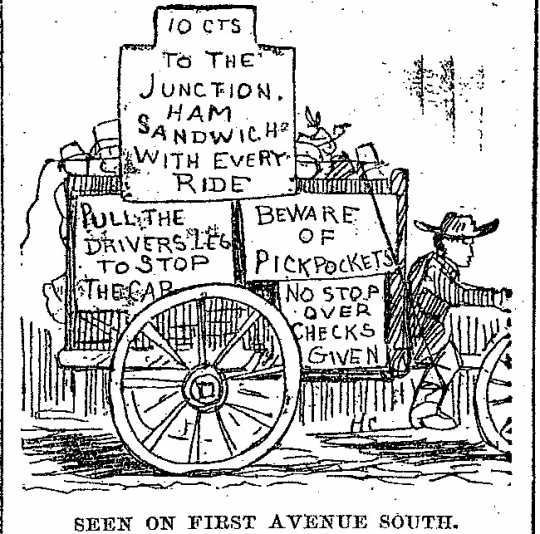 "Black and white scan of ""Seen on First Avenue South."" Minneapolis Journal, April 16, 1889."