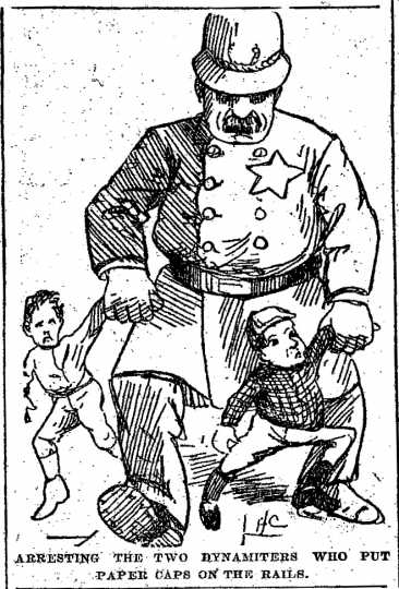 "Black and white scan of ""Arresting the two young dynamiters who put paper caps on the rails. Minneapolis Journal, April 18, 1889."