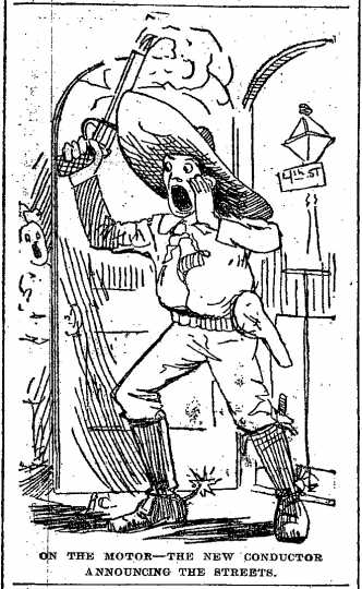 """Black and white scan of """"On the motor – the new conductor announcing the streets."""" Minneapolis Journal, April 20, 1889."""