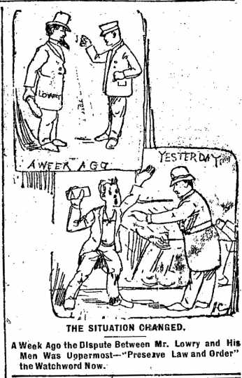 """Black and white scan of """"The situation changed."""" Minneapolis Journal, April 22, 1889."""