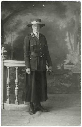 Black and white photograph of Red Cross worker Julia Gray, ca. 1919.