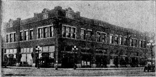 Black and white photograph of the K. J. Taralseth Company Building, 1915. Originally published in Warren Sheaf, September 1, 1915.