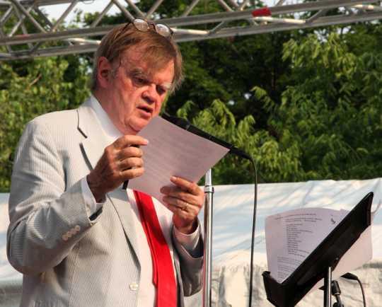 Garrison Keillor reviews a Prairie Home Companion script before a live show at Macalester College, 2015.