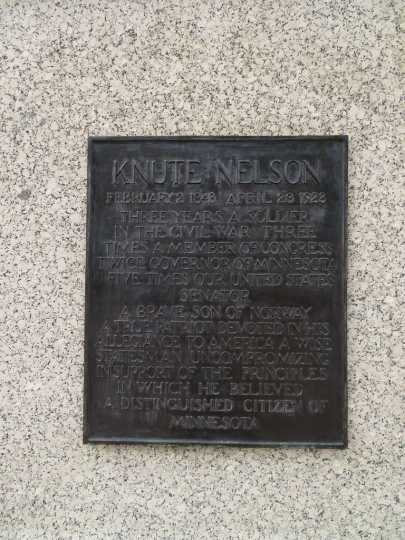 Plaque on the Knute Nelson Memorial