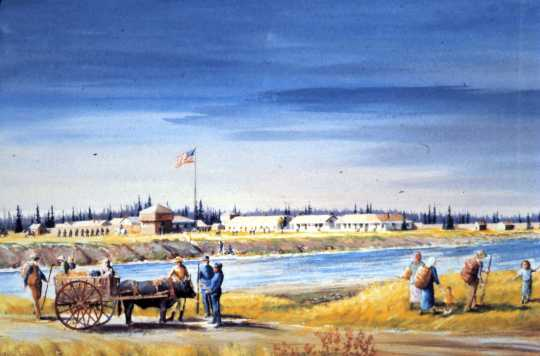 Watercolor of old Fort Ripley by Minnesota artist Paul S. Kramer (1919–2012). Painted in 1989 as a study for a larger oil painting that hangs in Camp Ripley's post headquarters.