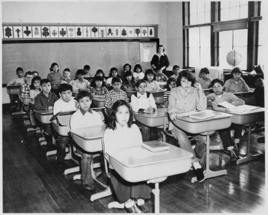 Classroom in Redby Elementary School, Red Lake Reservation, ca. 1953. Photograph by Hakkerup Studio.
