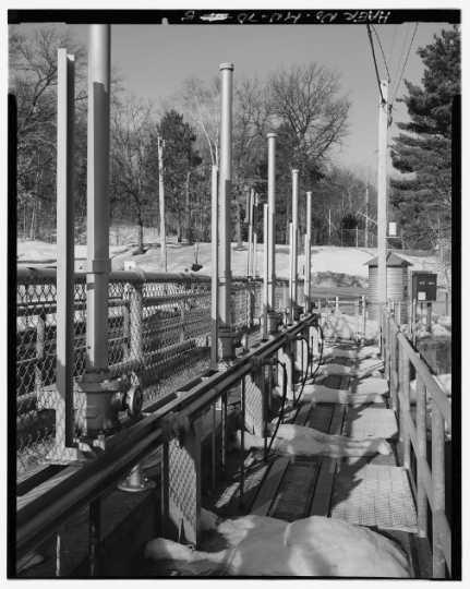 Gate lifters at Gull Lake Dam