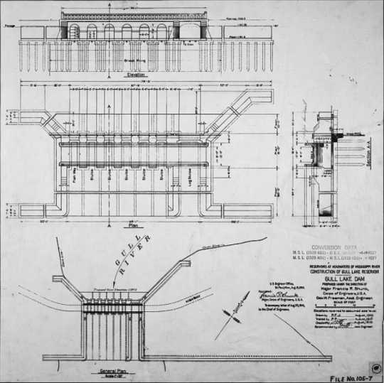 Gull Lake Dam construction diagram