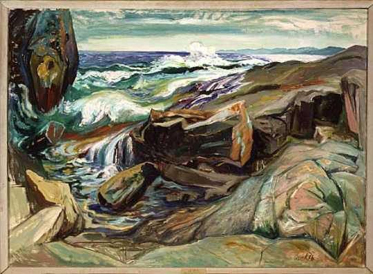 Painting of rocks along the shore of Lake Superior, with the lake visible in the background.