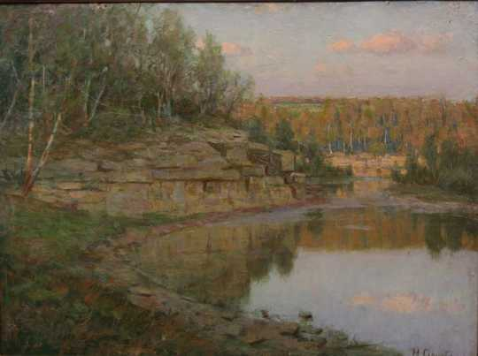 Painting of a Southern Minnesota lake scene by Herbjorn Gausta