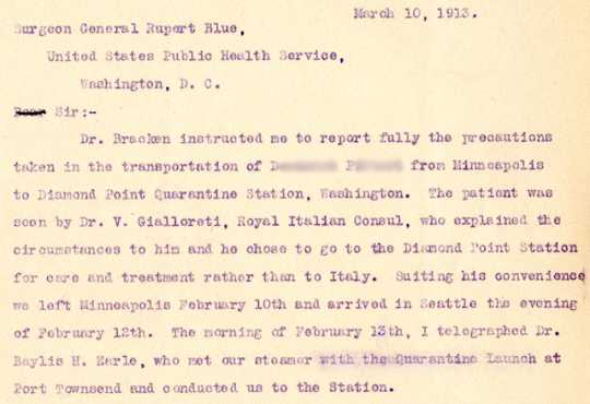 Letter to Surgeon General on transportation of patient D.P.