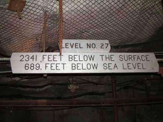 Color image of a sign inside the Soudan Mine in Lake Vermilion–Soudan Underground Mine State Park, July 16, 2005.