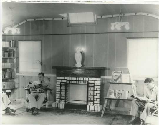 Interior view of the library at Camp Rabideau, ca. 1930s. Used with the permission of the Beltrami County Historical Society.