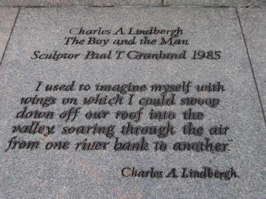 "Inscription at the base of ""Charles A. Lindbergh: The Boy and the Man"""