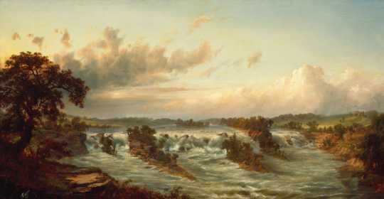 Painting of St. Anthony Falls by Alexander Francois Loemans, ca. 1875