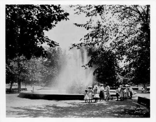 Black and white photograph of Logan Park, Minneapolis.