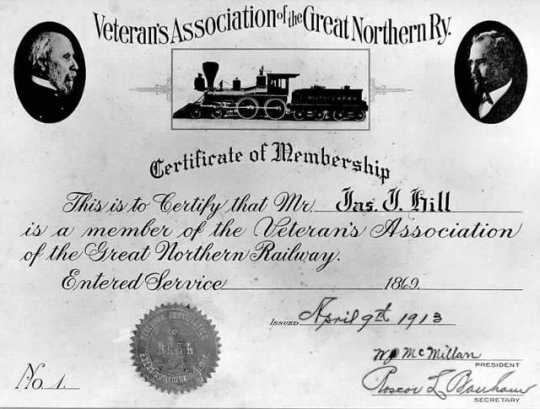Great Northern Railway Veterans' Association certificate