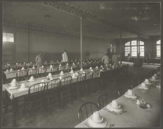Interior view of patient's dining room at the Anoka State Hospital, ca. 1910.
