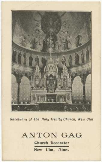 Paintings by Anton Gág, Christian Heller, and Schwendinger in the interior of the Cathedral of Holy Trinity in New Ulm