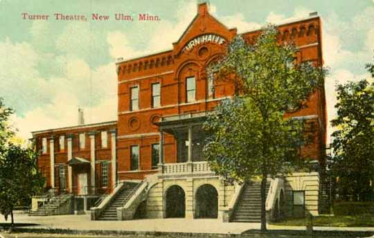 Colorized postcard of Turner Hall, New Ulm, ca. 1920.