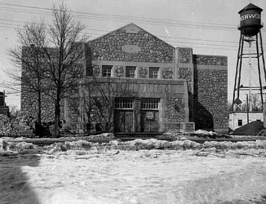 Black and white photograph of Deerwood Auditorium the year construction was finished, 1937.