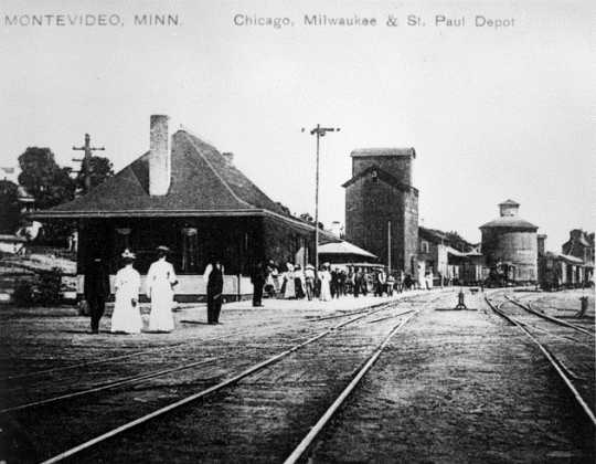 Black and white photograph of the Milwaukee Road Depot, Montevideo, ca. 1900. From the H. Roger Grant Collection.