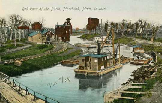 Colorized postcard photograph of a steamboat on the Red River near Moorhead, MN, in 1879.