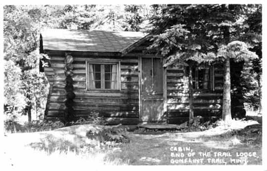 A cabin at the End of the Trail Lodge, south of Saganaga Lake, ca. 1950.