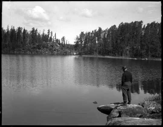 A lake along the Gunflint Trail. Photograph by Kenneth Melvin Wright, ca. 1940.