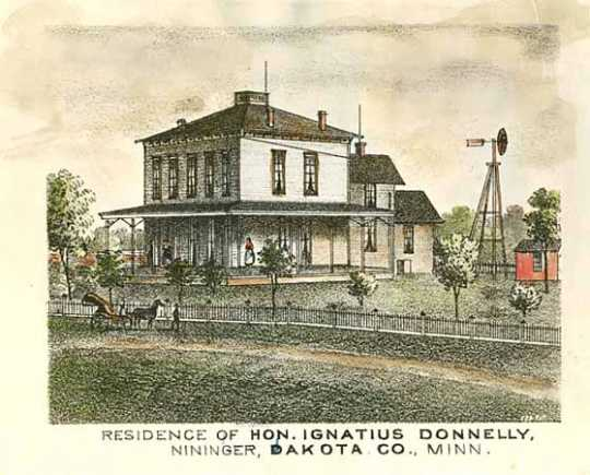 Colored print illustrating the home of Ignatius Donnelly in Nininger, Minnesota, 1874.