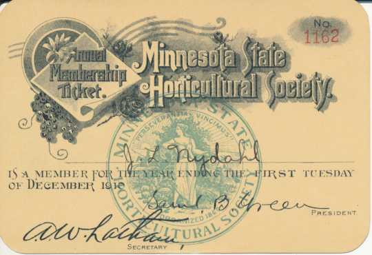 Color scan of an annual membership ticket for member J. L. Nydahl, signed by executive secretary A. W. Latham, 1910.