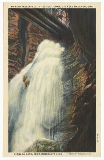 Color Illustration of waterfall in Niagara Cave