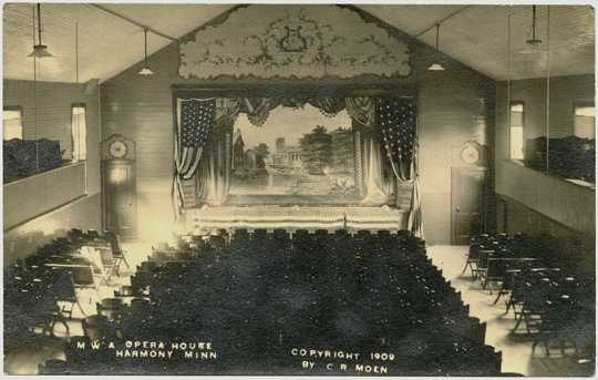 Photograph of Harmony Opera House auditorium, 1909