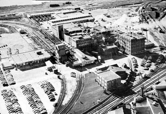Aerial view of Wilson & Company meatpacking plant, Albert Lea, 1955.
