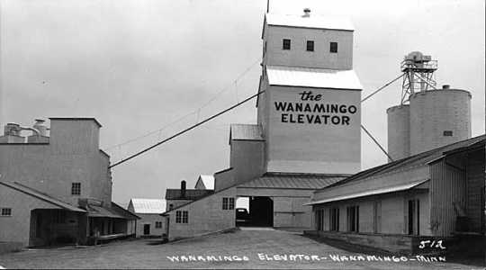 Black and white photograph of the Wanamingo Elevator, c.1950.
